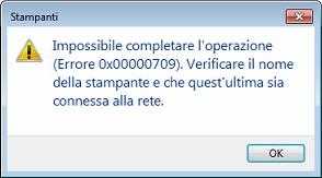 Errore 0x80000709 stampante predefinita